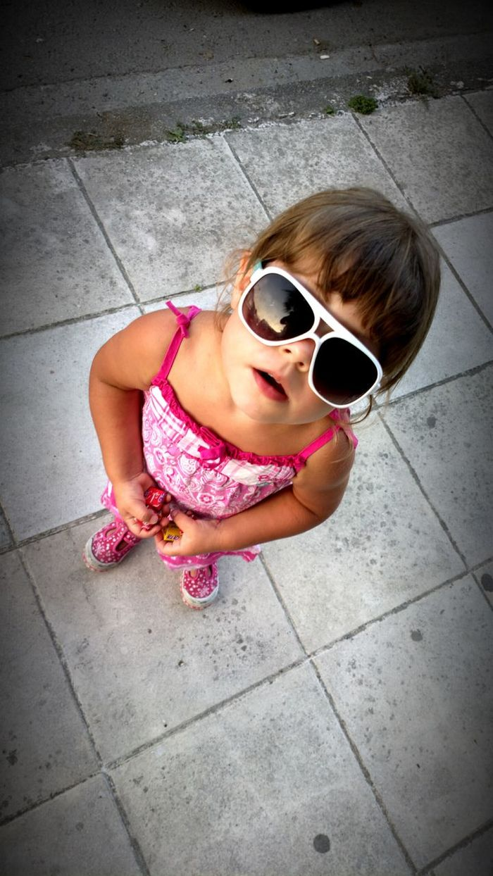 Childhood Girl One Girl Only Pink Color Sunglasses