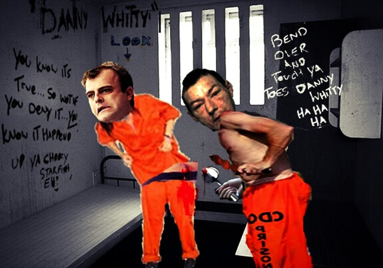 The dark and compelling true story of Dan Whitty. Victim of the Manchester pusher? This convicted killer, who was a known grass and general low life met his end in the Manchester canal. Pictured here during his stretch in Strangeways prison getting his drugs taxed off him on H wing by another prisoner with a spoon. Crime Prison Humiliation Drugs Violence Rape Dark Art Photoshop The Pusher Prison Violence Manchester Dan Whitty Strangeways Recreation  Brutal Extreme Violence True Crime