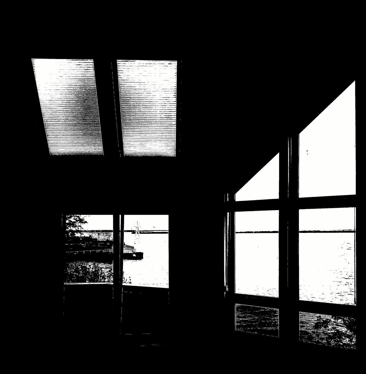 window, indoors, dark, day, no people, architecture, silhouette, built structure, clear sky