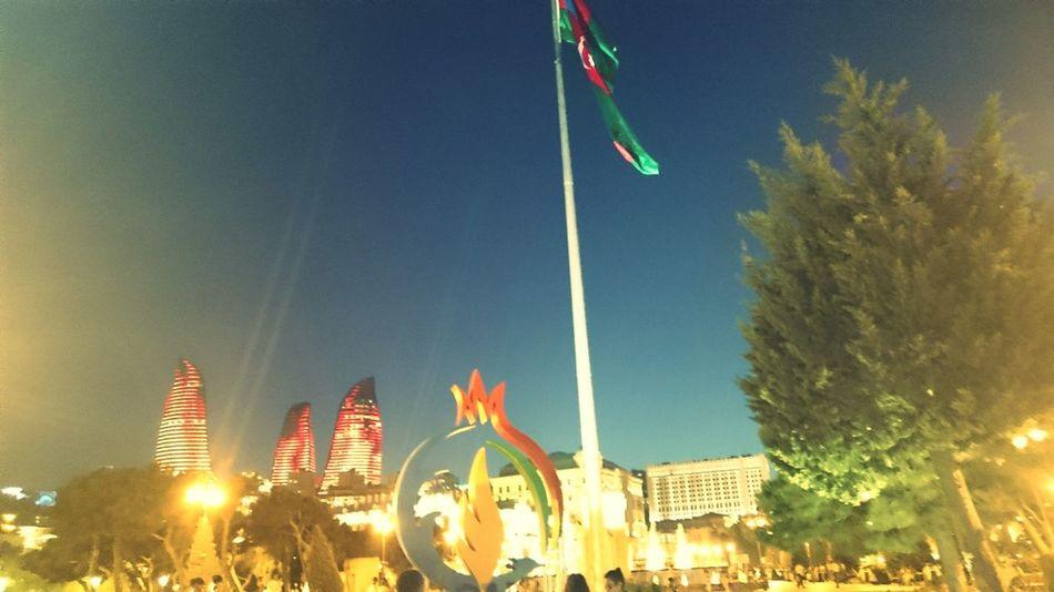 Baku Azerbaijan Baku2015 Modern Architecture Flags In The Wind  Niceplace Flametowers
