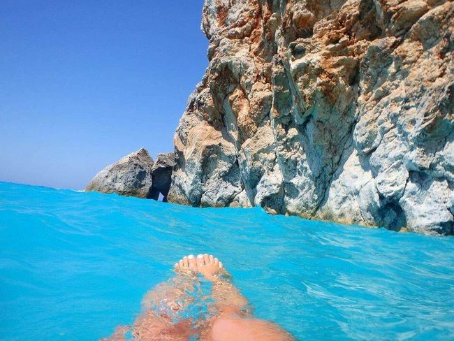 Two Is Better Than One Greek Beauty Rocks And Water Summer Sea Priceless Moments Nature Photography Colour Of Life Lefkada, Greece Ionian Sea Feetselfie