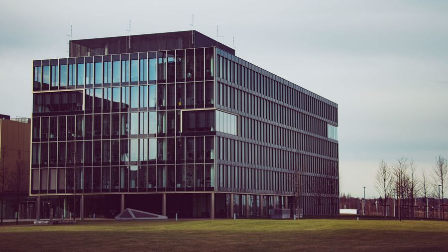 Architecture Built Structure Building Exterior Sky Modern Clear Sky Day No People Outdoors Grass City Office Block Krupp