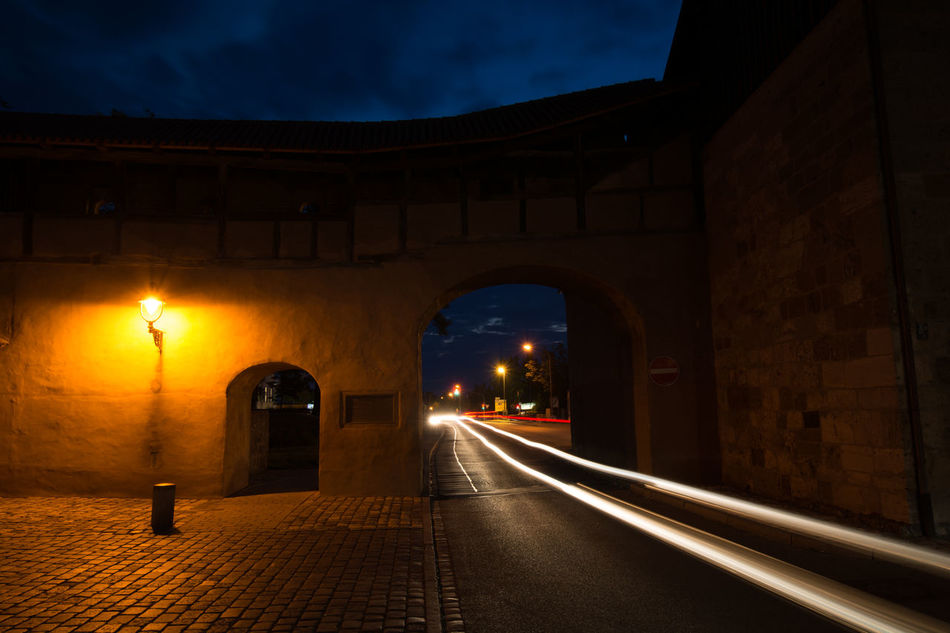 Arch Architecture Architecture Architecture_collection Building Exterior Built Structure City City Wall Darkness And Light Illuminated Light Light Trail Long Exposure Night Night Lights Night Photography Nightphotography No People Outdoors Sky Street Light The Way Forward Travel Destinations