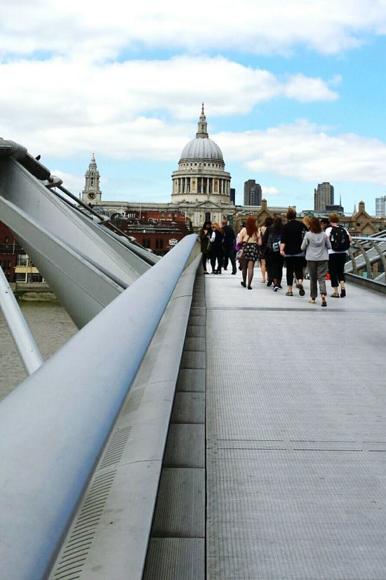 Cityscapes St Pauls Cathedral Millenium Bridge London Old Meets New