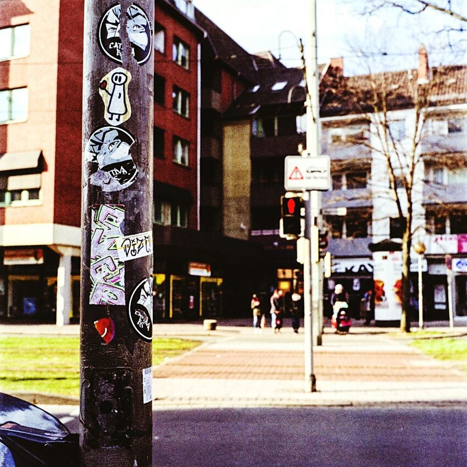 Stickers! Street Street Photography Pedestrian Crossing Light Pole Stickers Street Scene Brunswick Braunschweig
