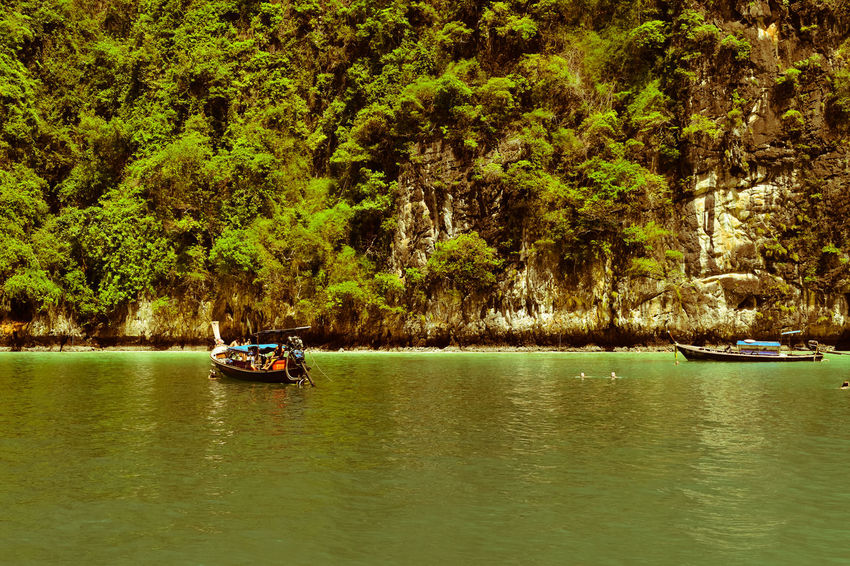 ASIA Beauty In Nature Longtail Boat Mode Of Transport Nature Nautical Vessel River Thailand Photos Thailand_allshots Transportation Travel Destinations Tree Vacations Water