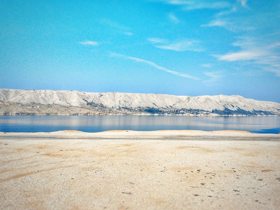 Landscape Seascape Landscape Layers Sea Summertime Horizontal Composition Pag Croatia Mountains Layers Arid Climate Rock And Sand