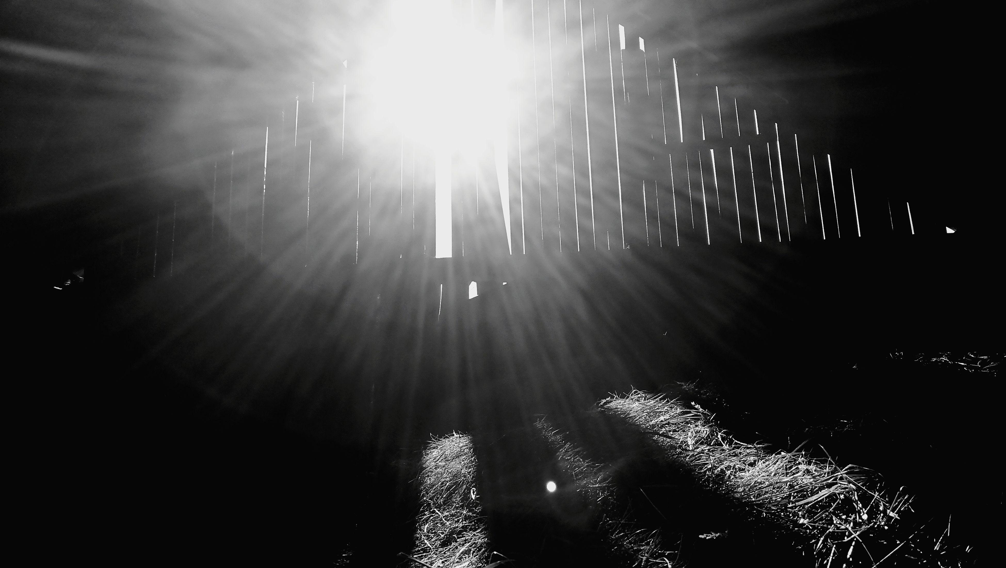 sunbeam, lens flare, sunlight, sun, illuminated, light beam, outdoors, no people, winter, nature, cold temperature, sky