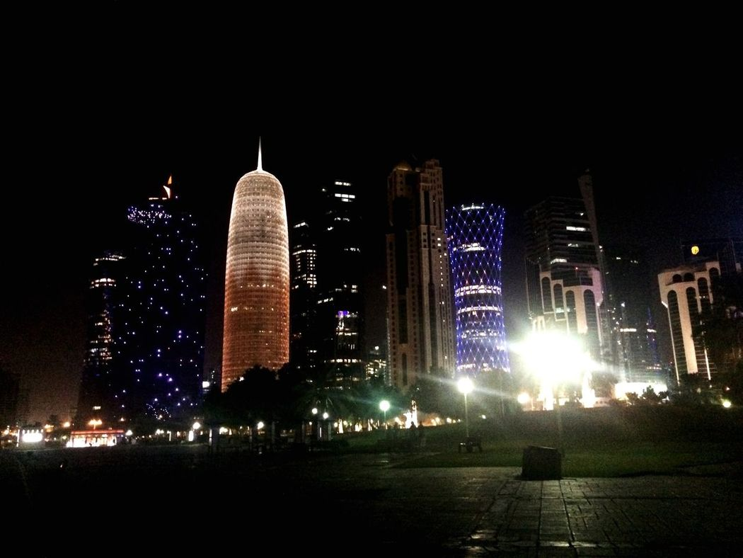 Doha By Night DohaByNight Doha Doha#City#❤ Doha Qatar Doha,Qatar Qatar I ❤ Qatar Qatarphoto1 Persian Gulf