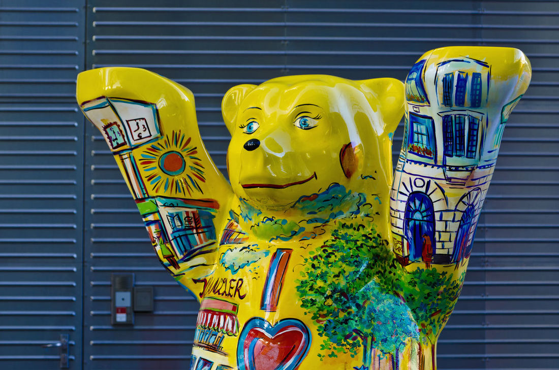 Painted bear sculpture, Berlin mascot, Germany Animal Representation Berlin Berlin Bear Color Image Colorful Day Germany Horizontal Mascot No People Outdoors Painted Sculpture Symbolism