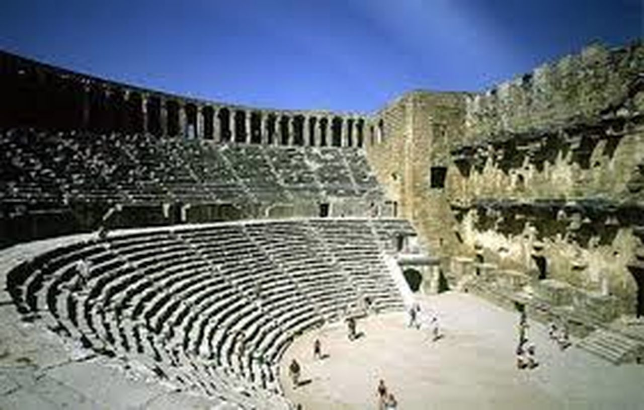 history, architecture, old ruin, travel destinations, outdoors, ancient, no people, sky, stadium, day, ancient civilization