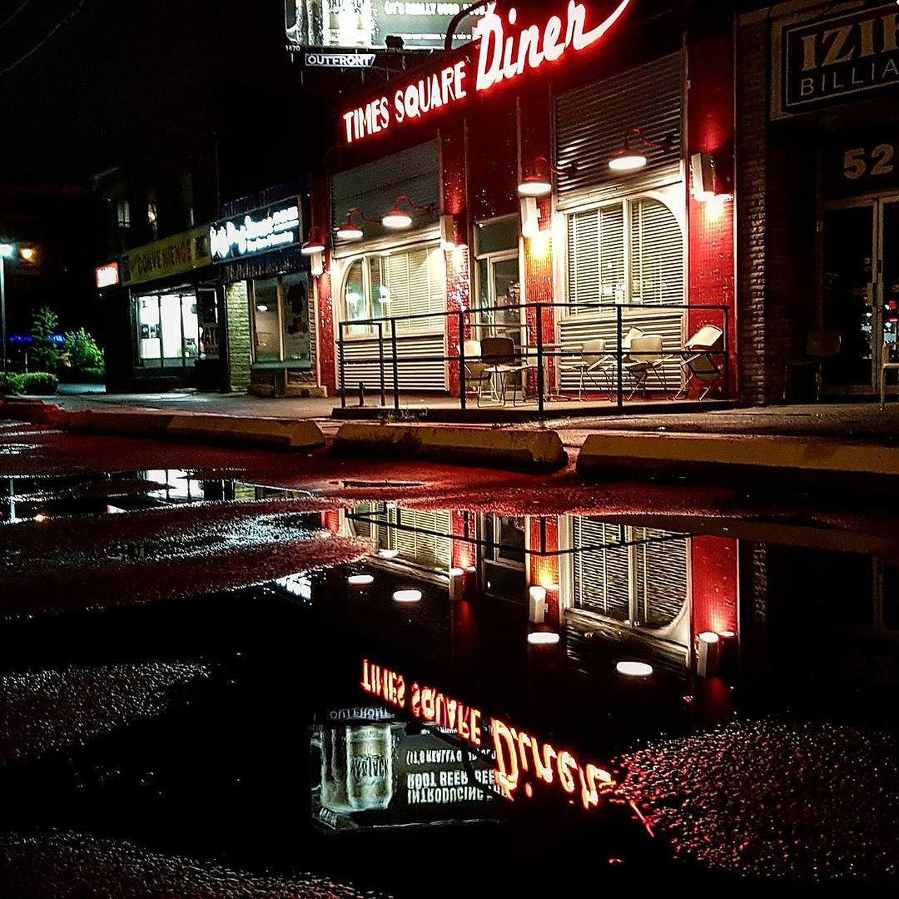 Reflecting on the neon brightness in a pool of suburban darkness - 📸 on Samsung Galaxy S7 - Red Reflection Leisure Activity Illuminated Horizontal No People Night Architecture Downsview Torontophoto Toronto Canada Old-fashioned Samsung Galaxy S7 Weathered Toronto TorontoLife Night Lights Nightphotography Torontophotography Restaurant Foodie Greasy Spoon Diner Neon Lights