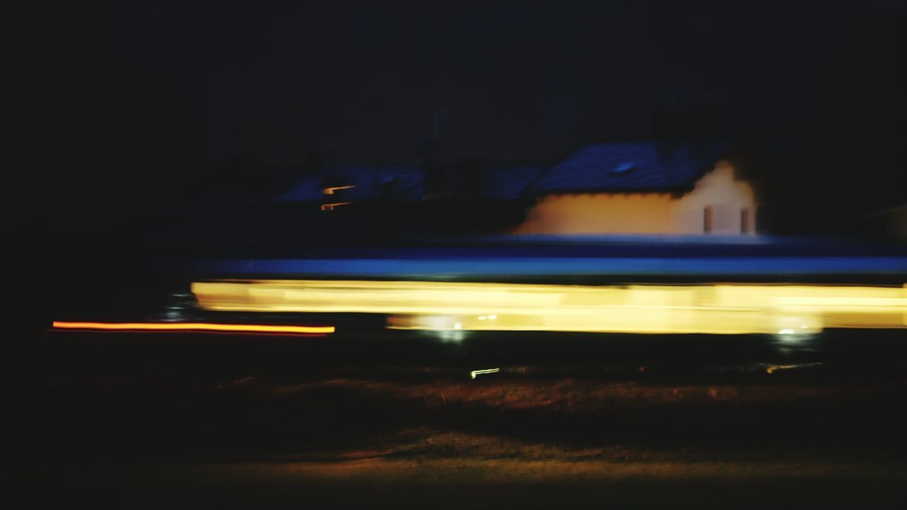 Night Transportation Illuminated Light Trail Speed Blurred Motion Long Exposure