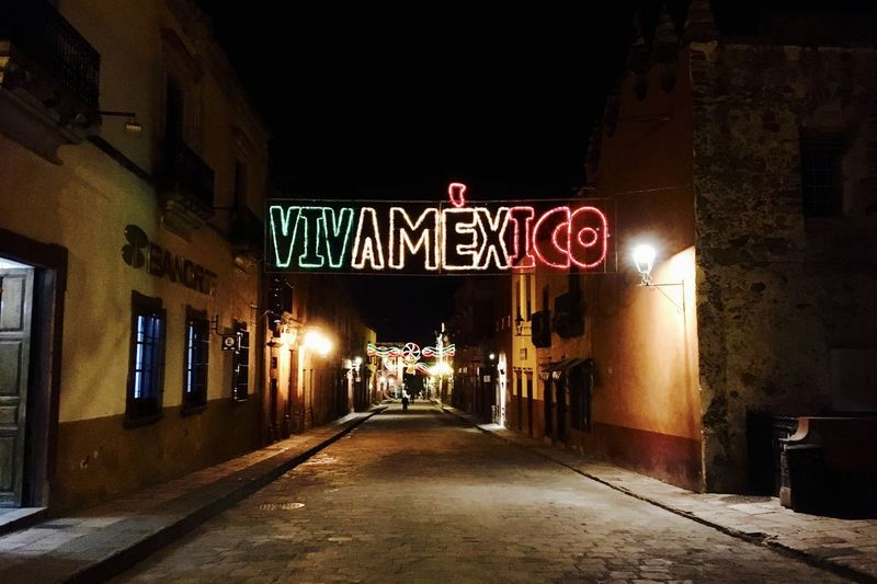Architecture Building Exterior Built Structure City Communication Illuminated Neon Night Outdoors Text Viva Mexico