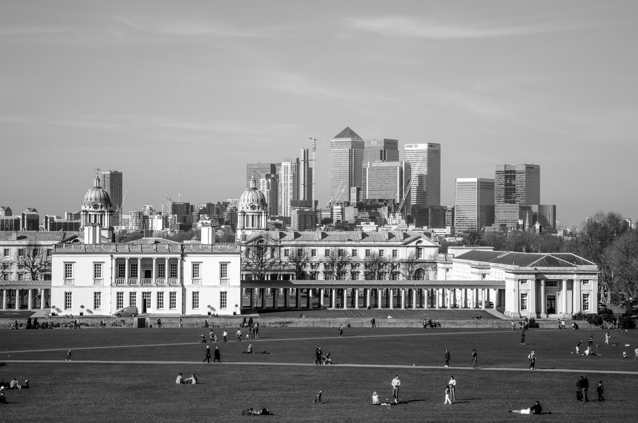 Architecture Building Exterior Built Structure City City Life Greenwich Greenwich Park Large Group Of People Lawn London Outdoors Sky Skyscraper Tourism Urban Skyline