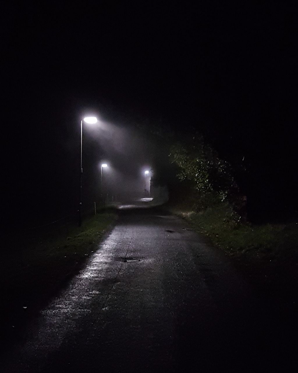 night, illuminated, street light, the way forward, road, dark, transportation, no people, outdoors, nature, sky