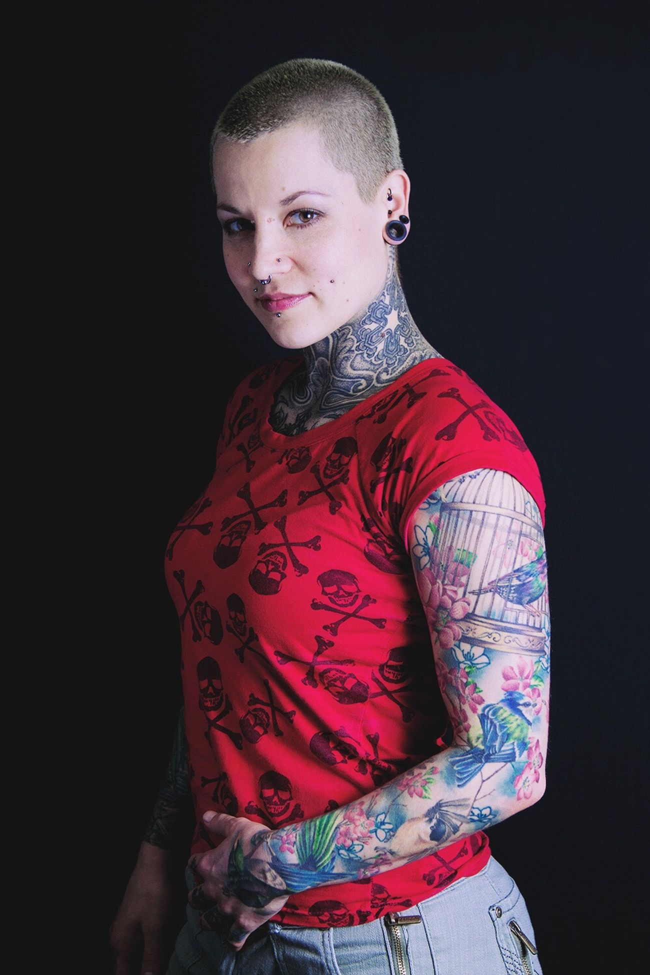 Jackie, tattoo artist, piercer, roller derby player/coach Portrait Of A Woman Tattooed