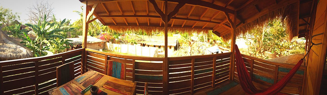 Balcony Hamak Bungalow Wood Paradise Relaxing Island Gili Trawangan INDONESIA Panoramic IPhoneography