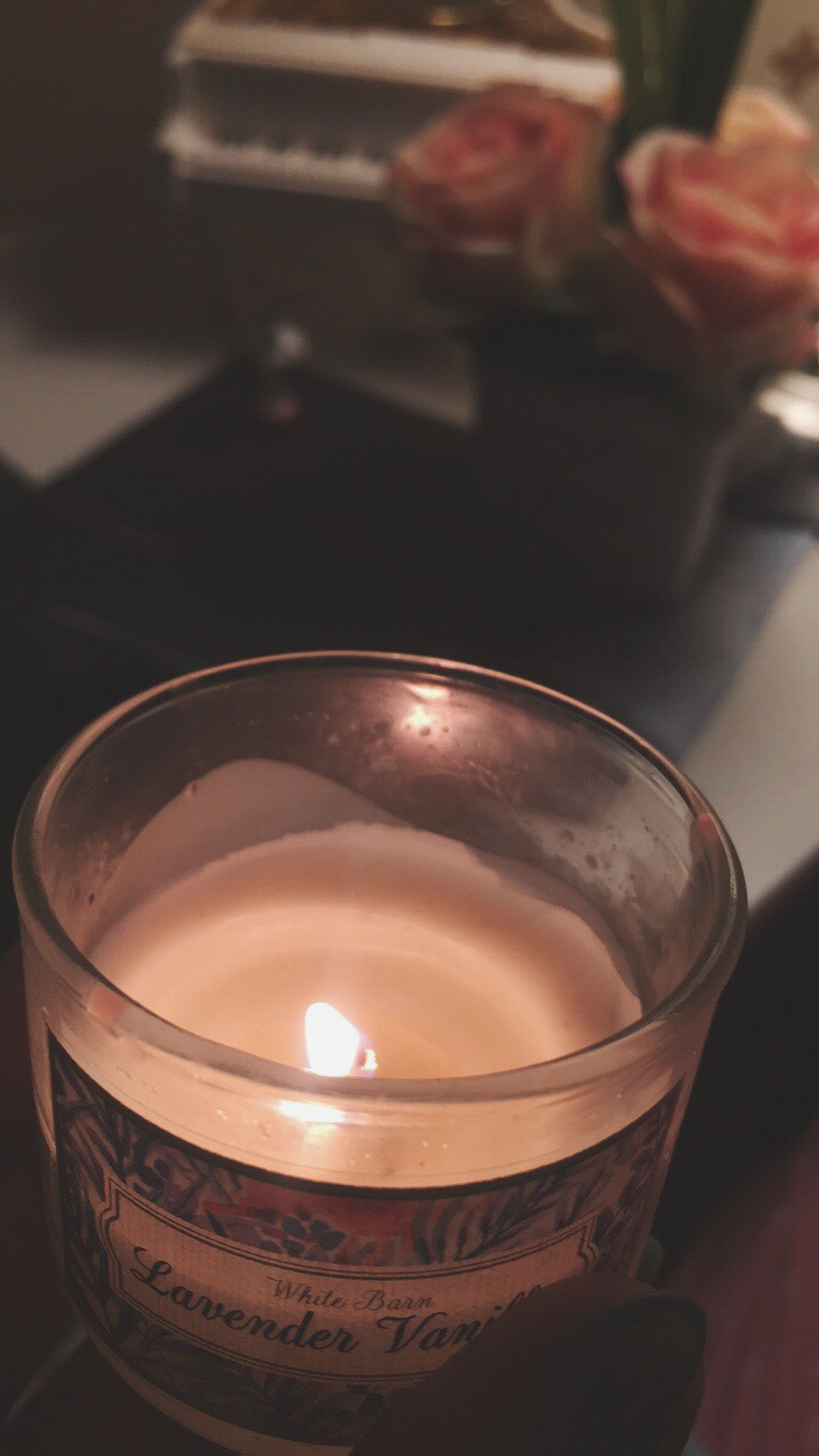 focus on foreground, burning, candle, flame, indoors, heat - temperature, close-up, tea light, no people, day