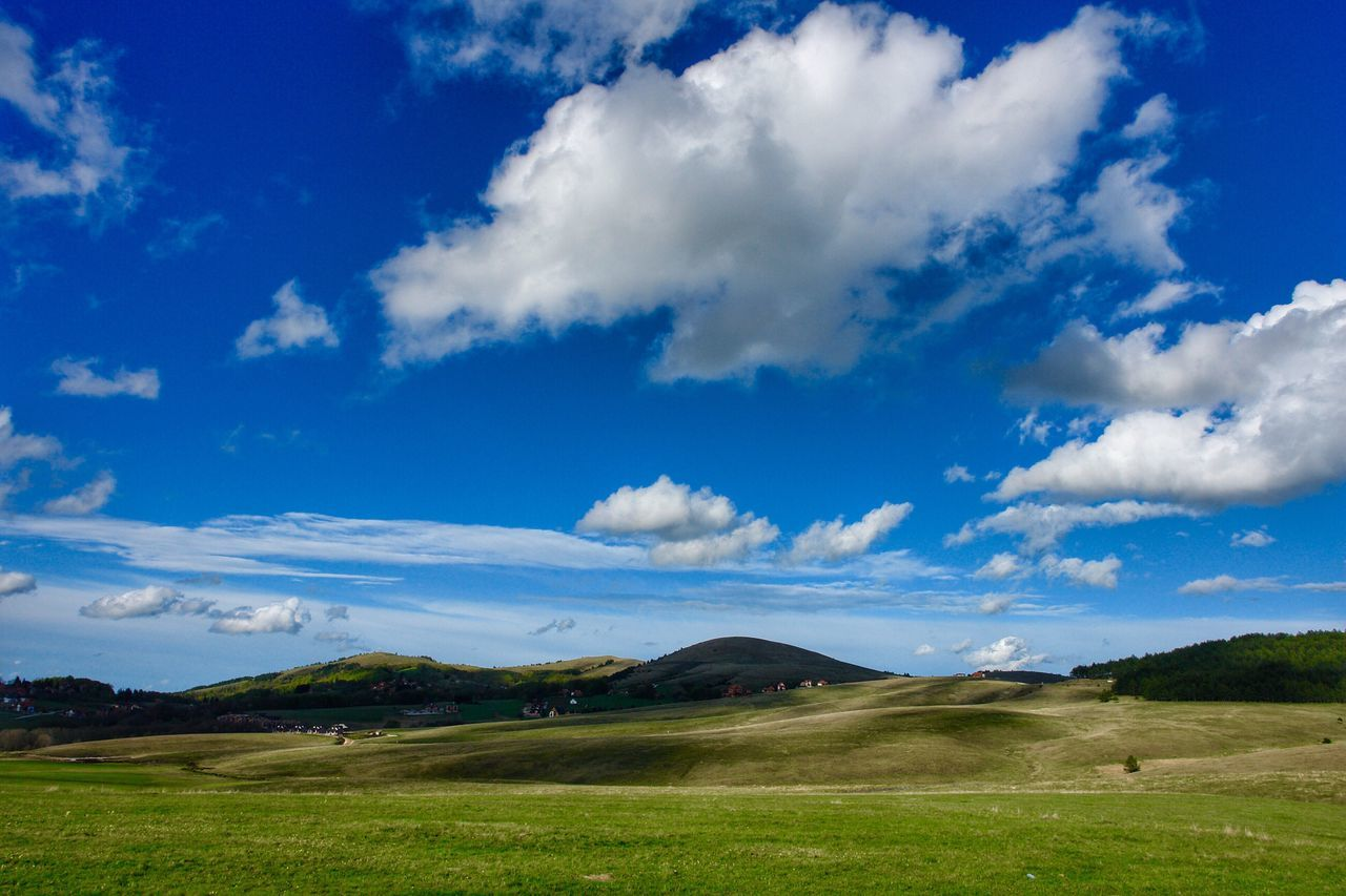 Cloud - Sky Sky Landscape Scenics Beauty In Nature Tranquil Scene Nature Tranquility Blue Day Grass No People Outdoors