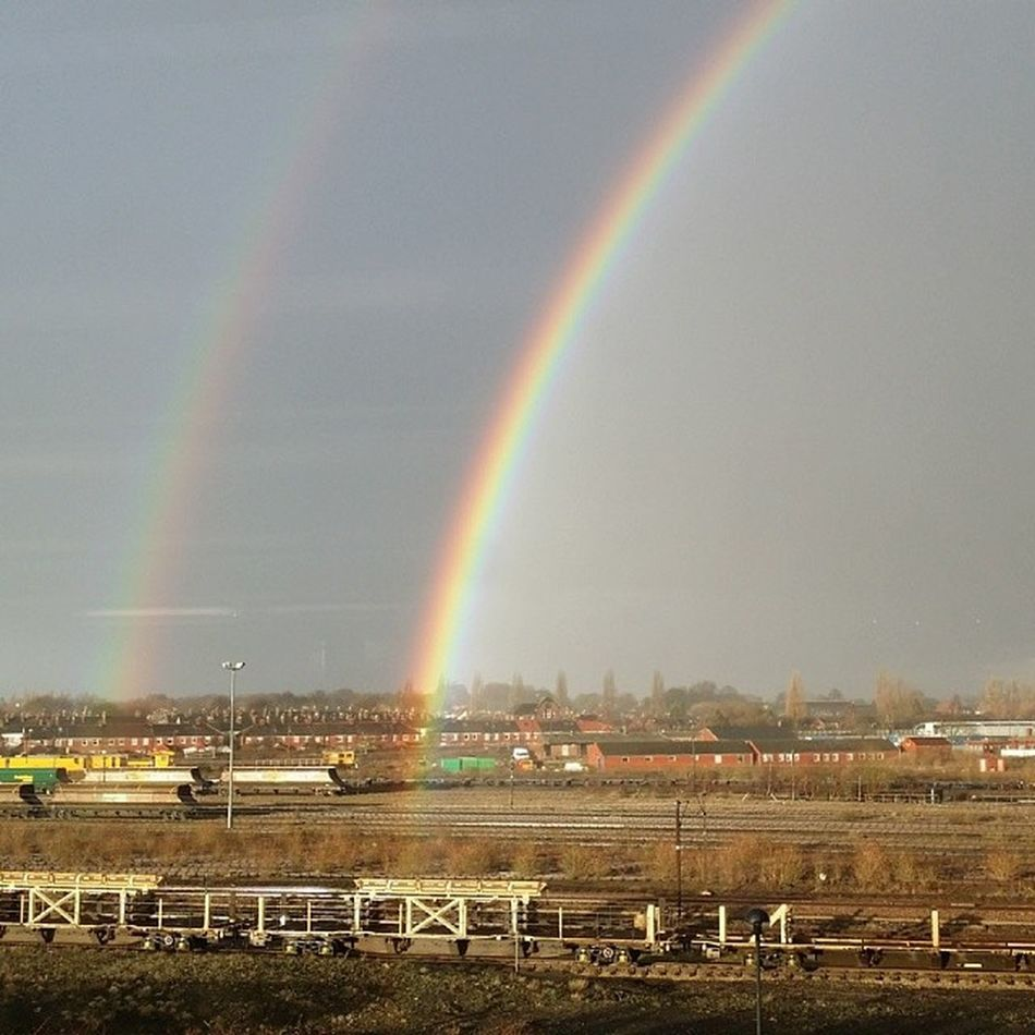This is the view from my new desk position - and a double rainbow to celebrate.