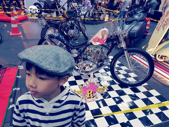 ONE DAY ..RIDING TO THE WORLD One Boy Only Child Childhood Warrooms EyeEm Gallery Taking Photos Thailand Arts Culture And Entertainment Harley Davison Model Custombike Transportation เด็ก Kid