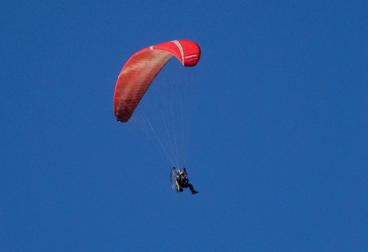 parachute, adventure, mid-air, blue, flying, extreme sports, clear sky, low angle view, copy space, exhilaration, real people, leisure activity, lifestyles, paragliding, skydiving, day, outdoors, one person, nature, people