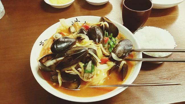 Champong.... korean traditional noodle Seouth Korea Food Noodles Night Enjoying A Meal