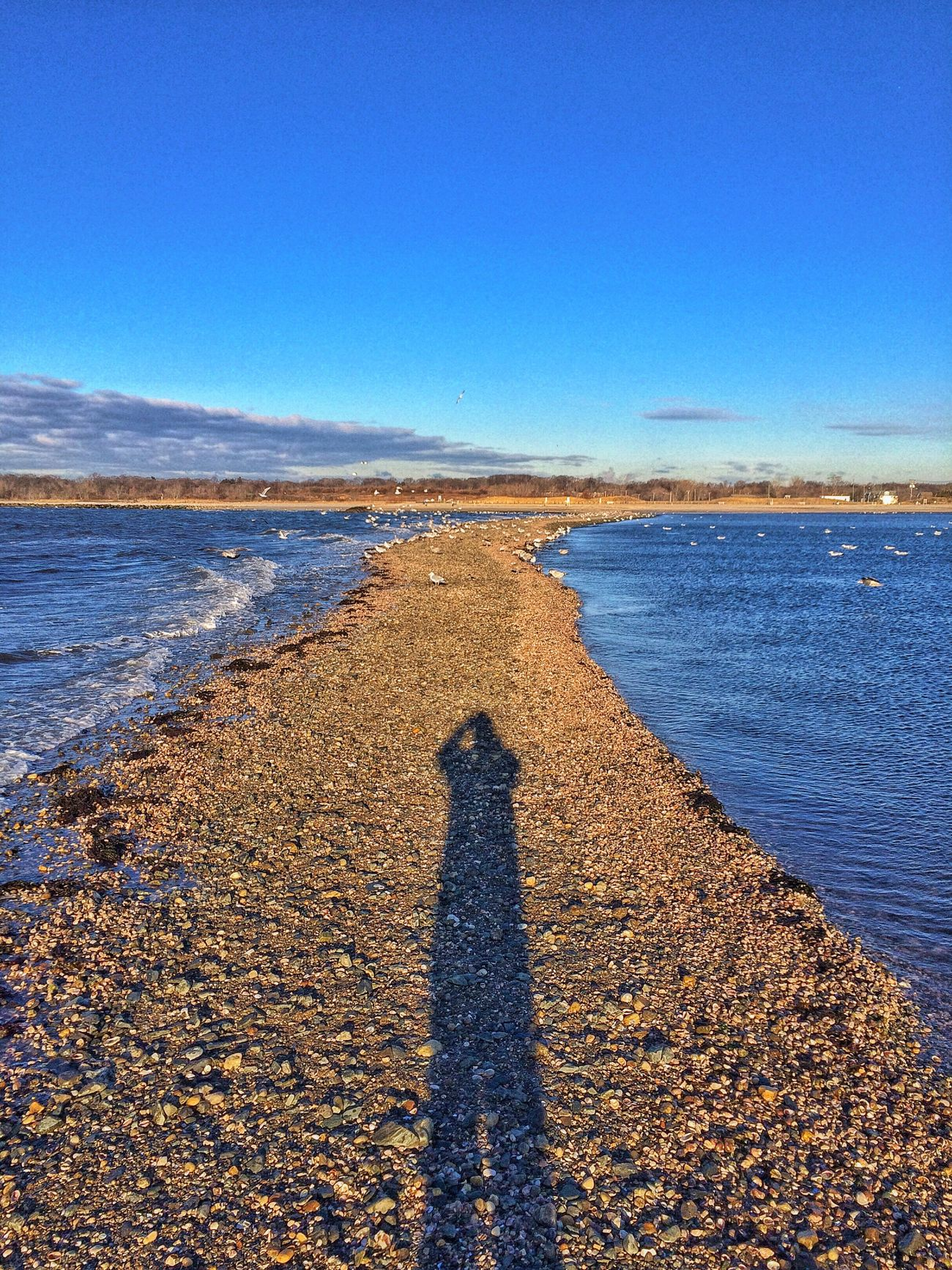 Walking out on the tombolo to Charles Island.... looking back. Nature Blue Water Sea Beach Beauty In Nature Scenics Tranquil Scene Tranquility Outdoors Day Sky Wave No People Shadow Long Island Sound Connecticut New England  Tombolo EyeEm