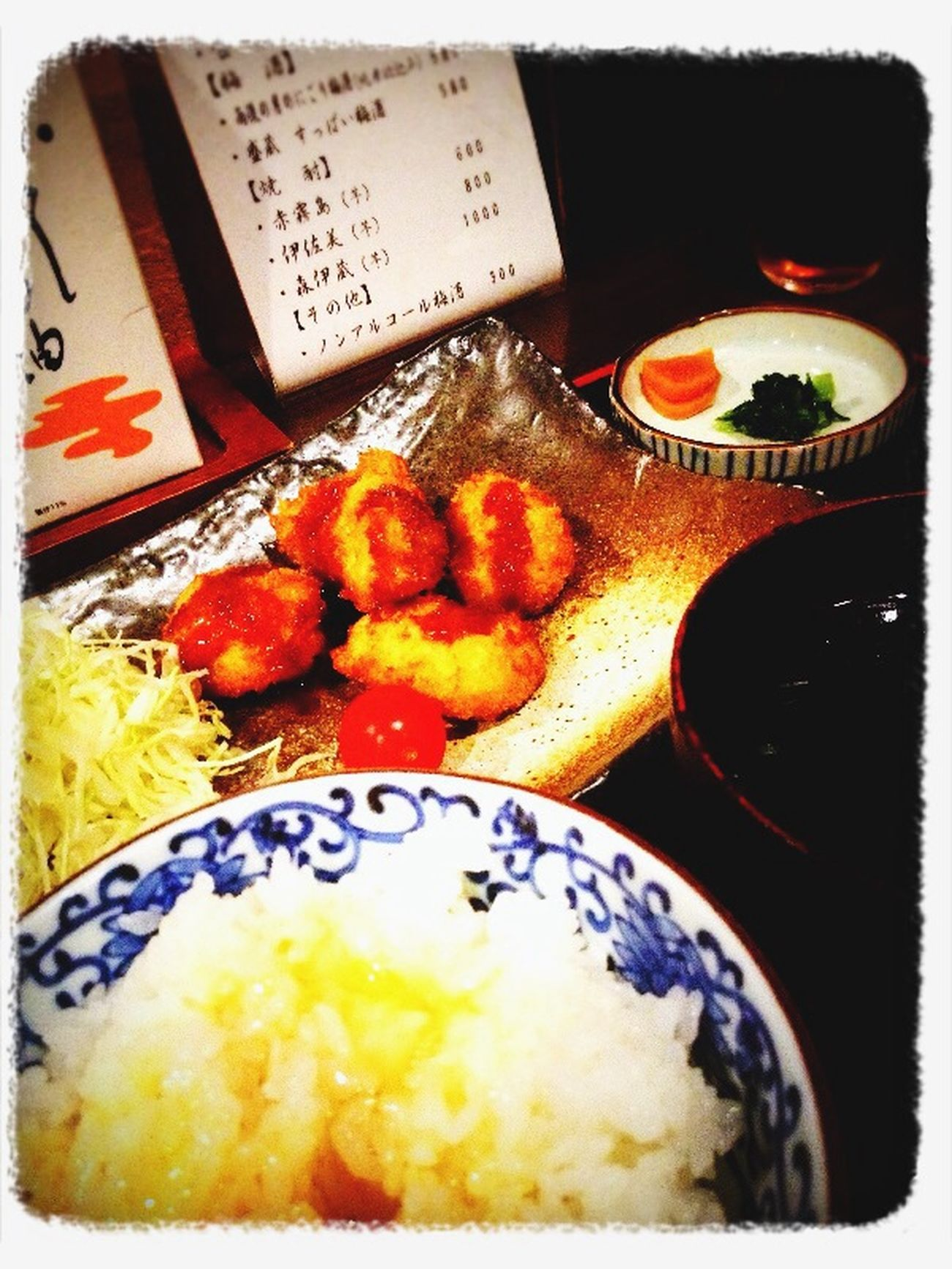 Lunch Lunch Time! Japanese Food Japan 鶏カツ定食300円(ʘʖ̮ʘ)