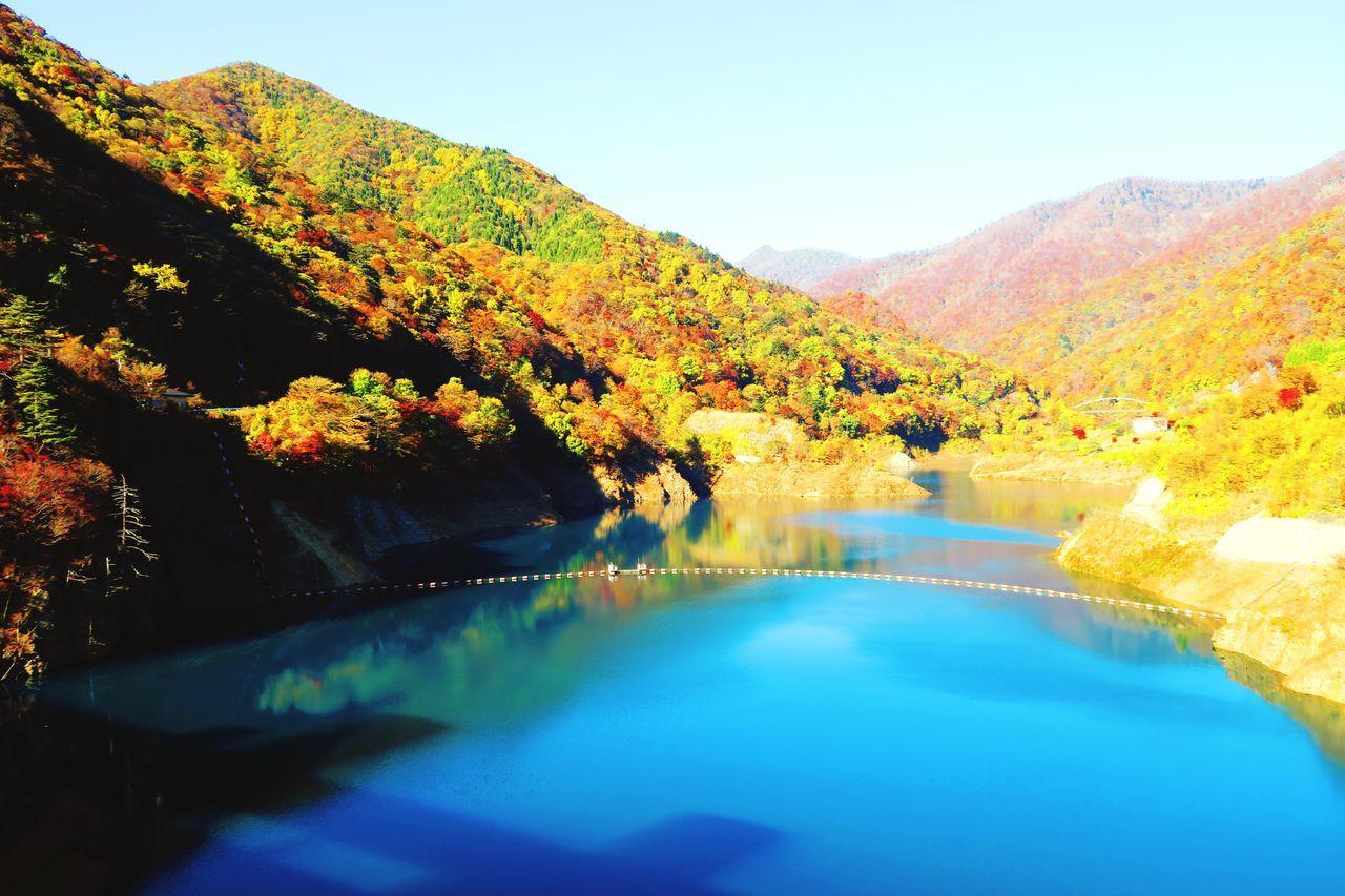 四万湖 Shima-lake Lake Lake View Autumn Blue Many Mountains Of Mountain Japanese  Natural Nature Water Color Colorful