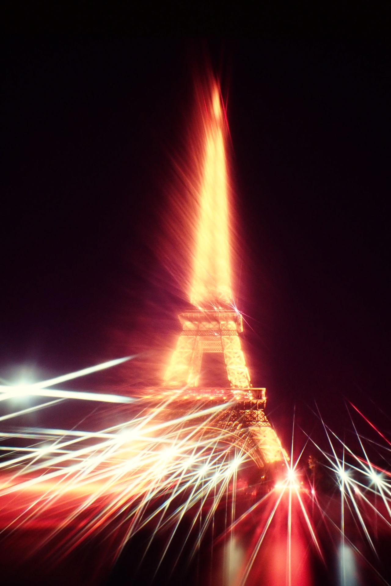 Eiffel Tower France Illuminated Light Effect Night Nightlights No People Paris Special Effects