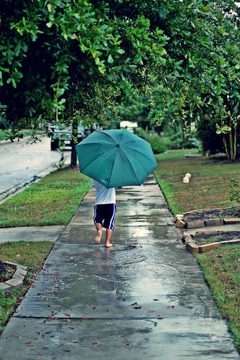 Being A Kid Footpath Green Color Growth Have Fun Jumping No Shoes Outdoors Playing Playing In The Rain Puddles Rain Running Splashing The Way Forward Tree Umbrella Walkway People And Places