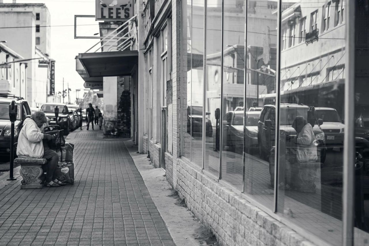 DoYouSeeYourself? Balancing Act Poverty Downtown DowntownBrownsville Gilbert J. Photography Blackandwhite Homeless Reflected Glory Looking To The Other Side