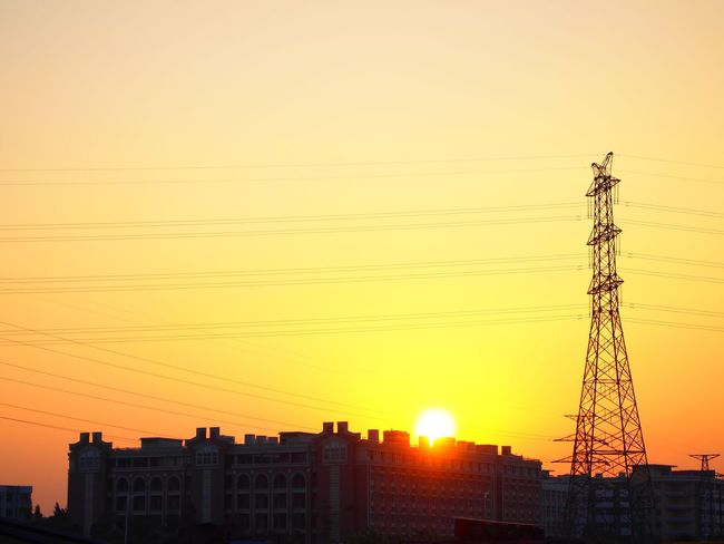 Sunset Architecture Orange Color Built Structure Building Exterior Cable Electricity Pylon No People Silhouette Electricity  Outdoors Clear Sky Sky City Day