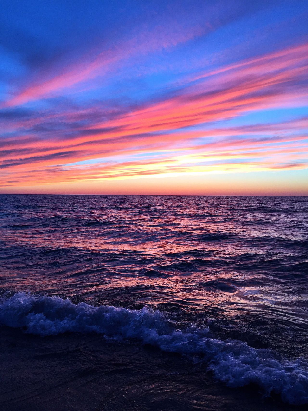 Red Sky at Night Sailors Delight Sunset Sea Beauty In Nature Horizon Over Water Water Tranquility Scenics Wave Outdoors Lake Lake Superior Great Lakes Pure Michigan