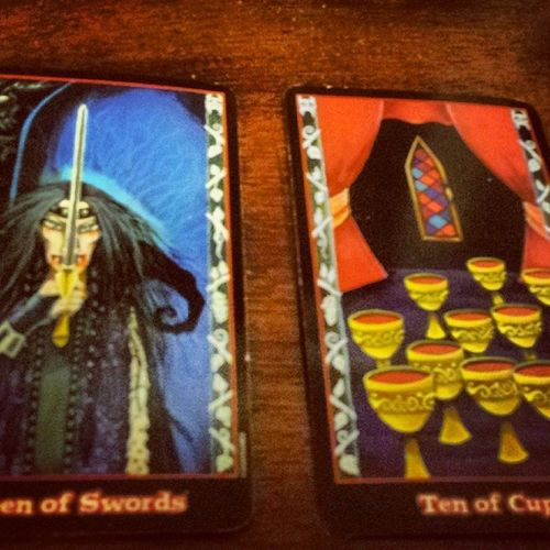 Jumpercard Advicecard Tarotcards Tarotreader tarotreading tarot vampiretarot vampiredeck past present future swords cups priorities strength weakness balance conflict