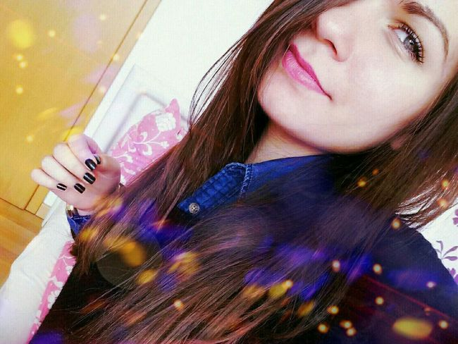Colourful Lights German Girl Weird Smile  Teenager Blue Eyes Purple Blue
