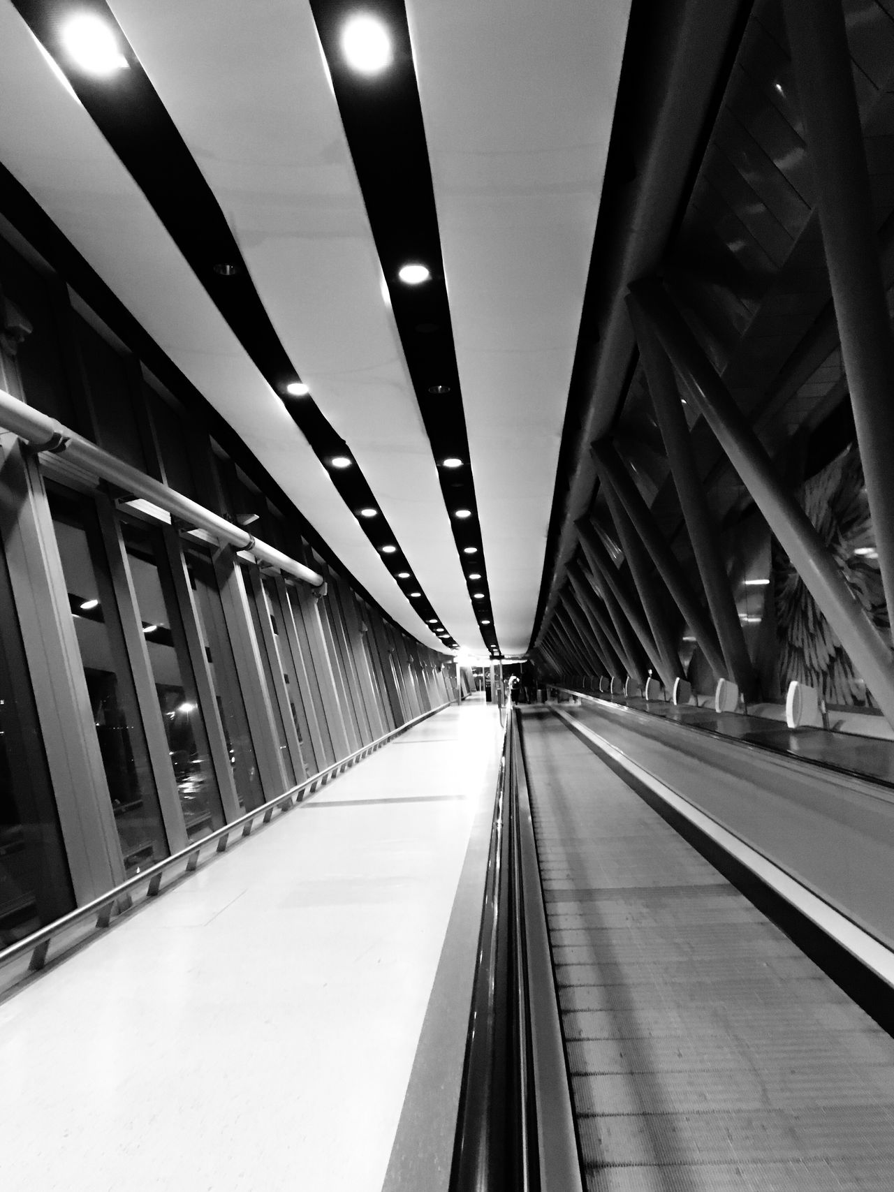 Long way ahead Illuminated Ceiling The Way Forward Architecture Built Structure Indoors  Transportation Connection Real People Modern Futuristic Moving Walkway  Airport Gatwick Airport Gatwick North Terminal London Black And White Black & White Black And White Photography Black And White Architecture Gatwick Collection IPhoneography
