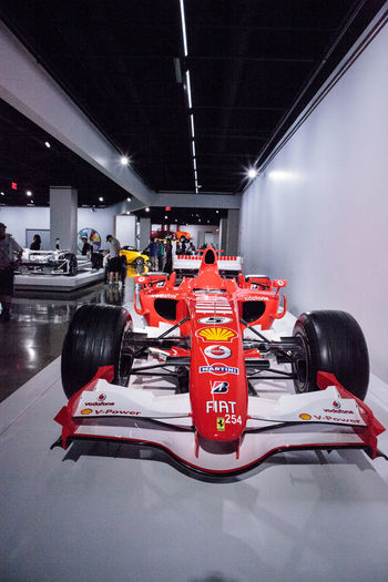 Los Angeles, CA, USA - July 23, 2017: Red 2006 Ferrari 248 F1 displayed at the Petersen Automotive Museum. Editorial use. 2006 Antique Classic Car Ferrari Ferrari 248 F Ferrari 248 F1 Petersen Automotive Museum Day Fast Cars Indoors  Old Car Race Car Racecar
