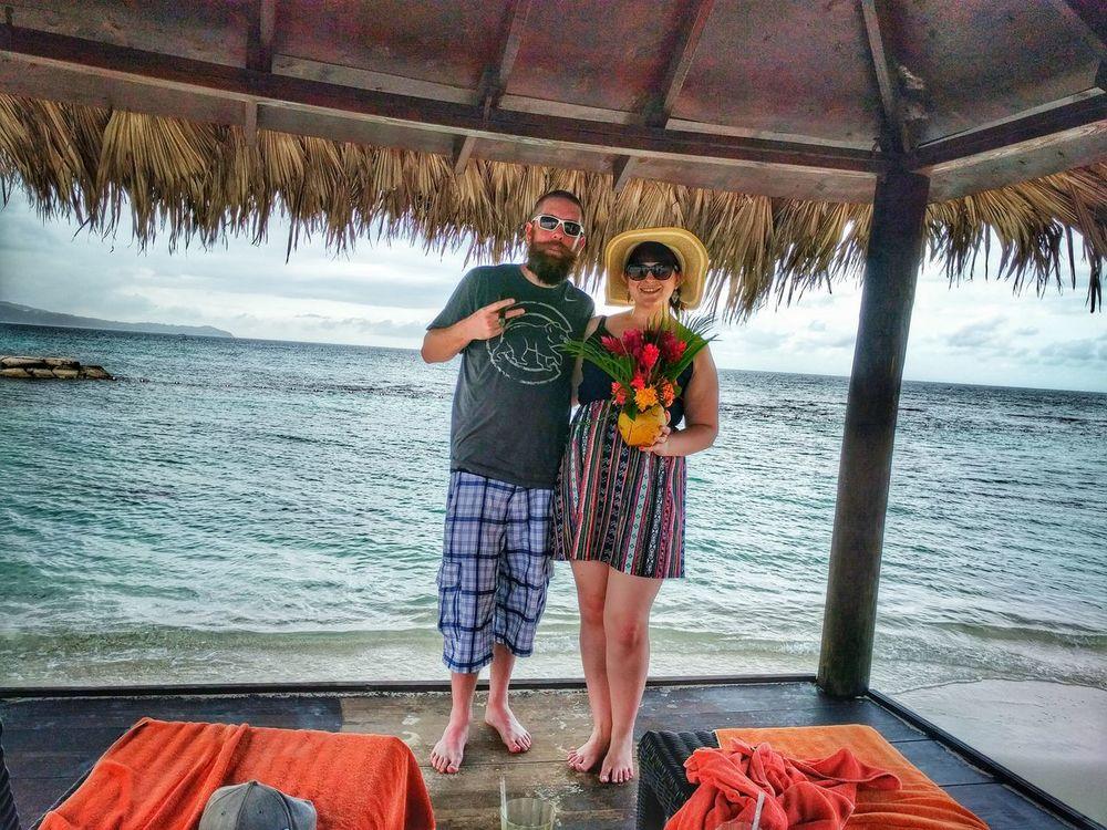 Wife & i in Jamaica! Beach Beardgang Anniversary