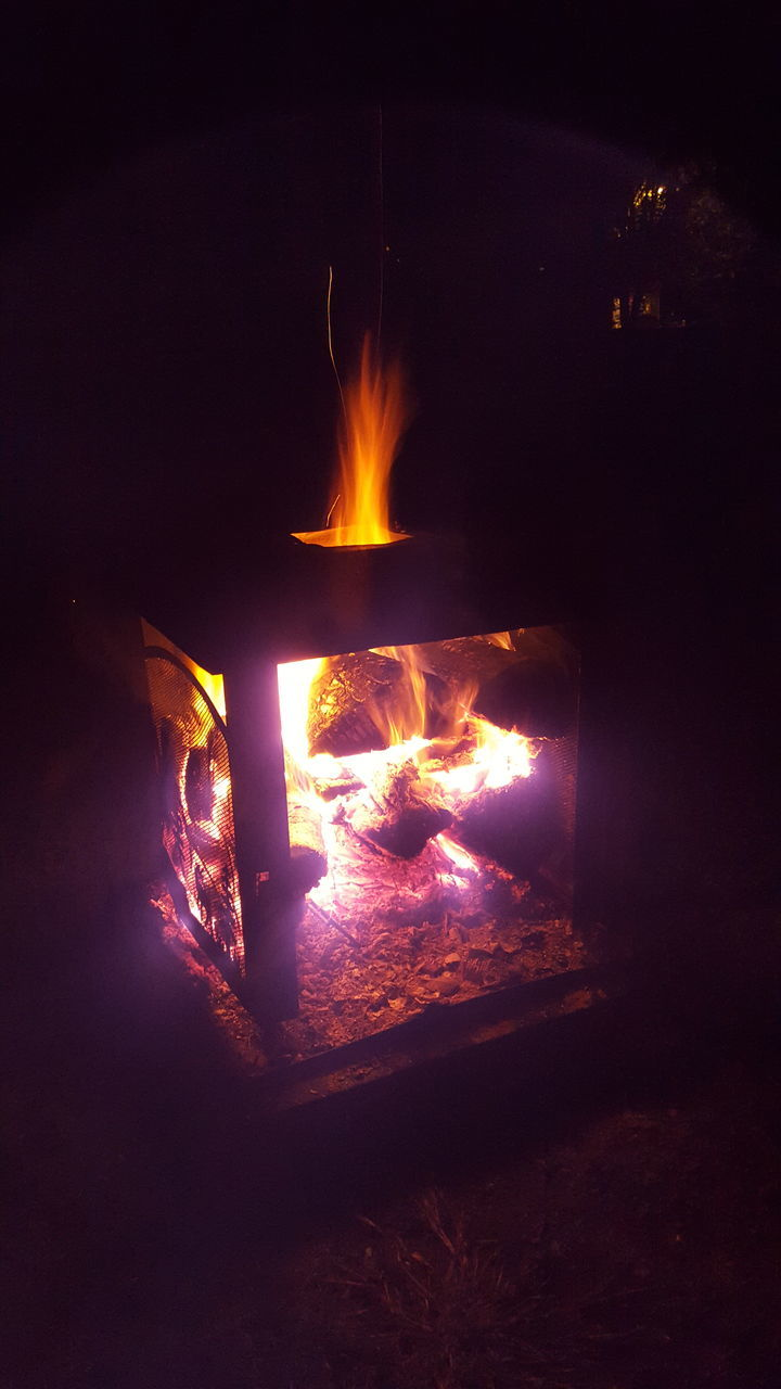 burning, flame, night, heat - temperature, glowing, no people, dark, bonfire, illuminated, outdoors, fire pit, close-up