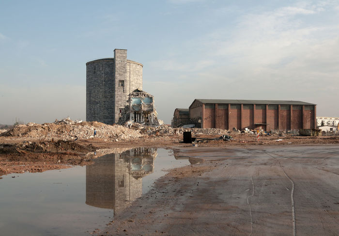 Demolition Architecture Beauty Of Demolition Built Structure Cloud Cloud - Sky Demolition Destruction Industrial Landscapes No People Outdoors Silo Sky The End