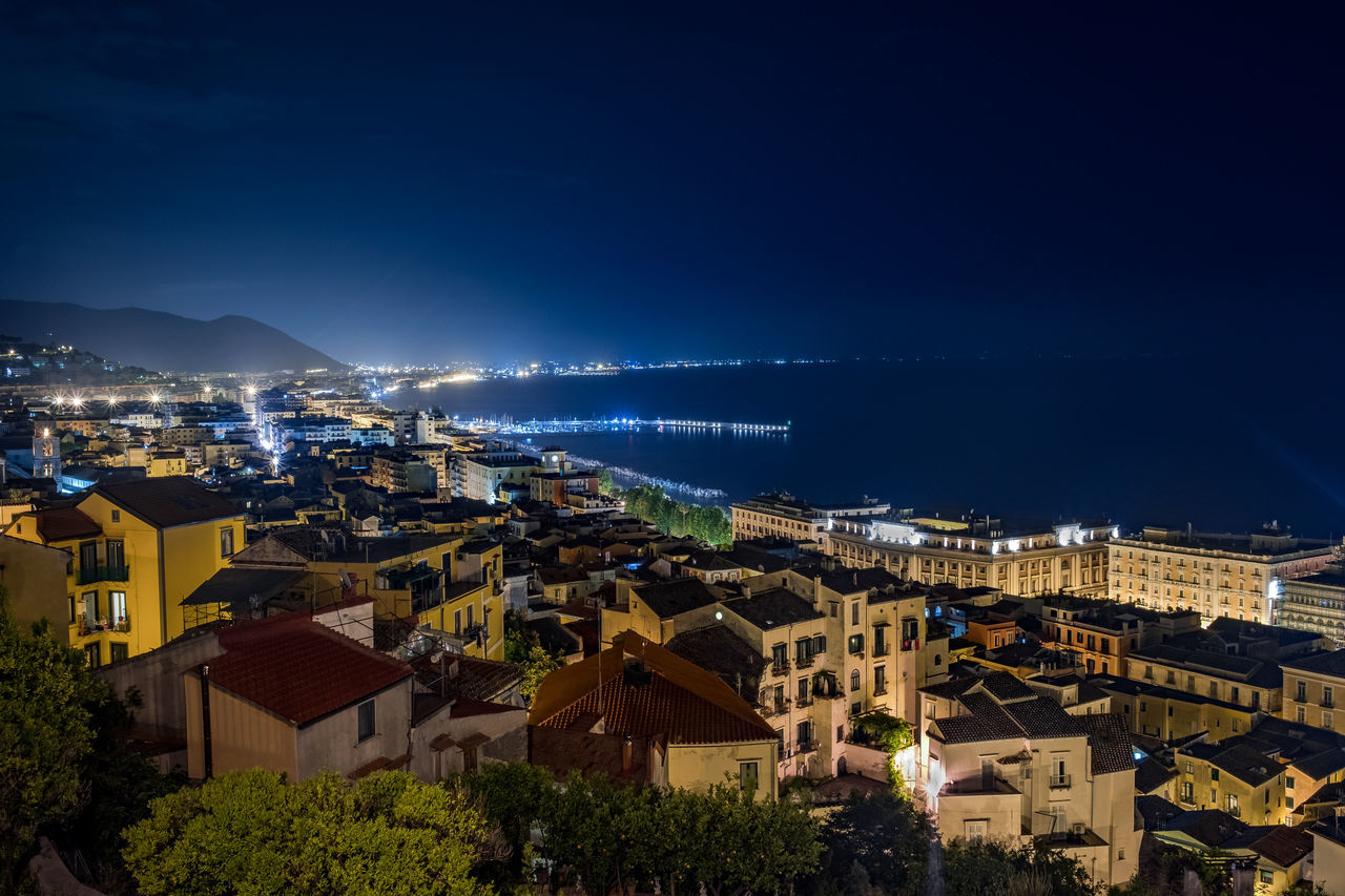 Architecture Beach Blue Building Exterior City Cityscape Crowded Harbor High Above High Angle View Horizon Over Water Illuminated Italian Culture Mediterranean Sea Nature Night Night Lights Nightlife No People Outdoors Sea Sky Town Travel Destinations Water