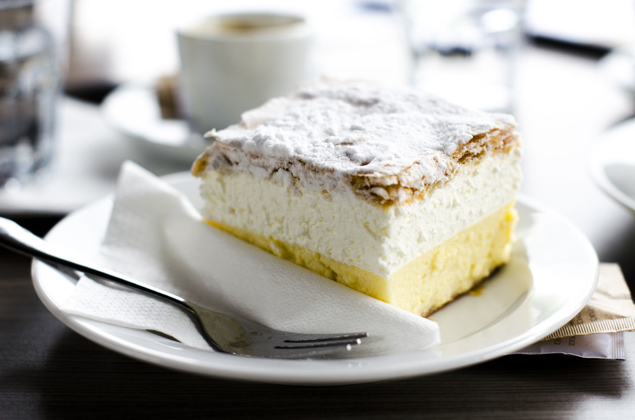 "Slovenian traditional dessert called ""kremna rezina"" or ""kremsnita"" Cake Close-up Cream Cream Cake Creamy Cuisine Europe Food Food And Drink Freshness Indoors  Kremna Kremšnita Meal Plate Ready-to-eat Slovenia Slovenia Scapes Slovenian Sweet Food Temptation Traditional Food"