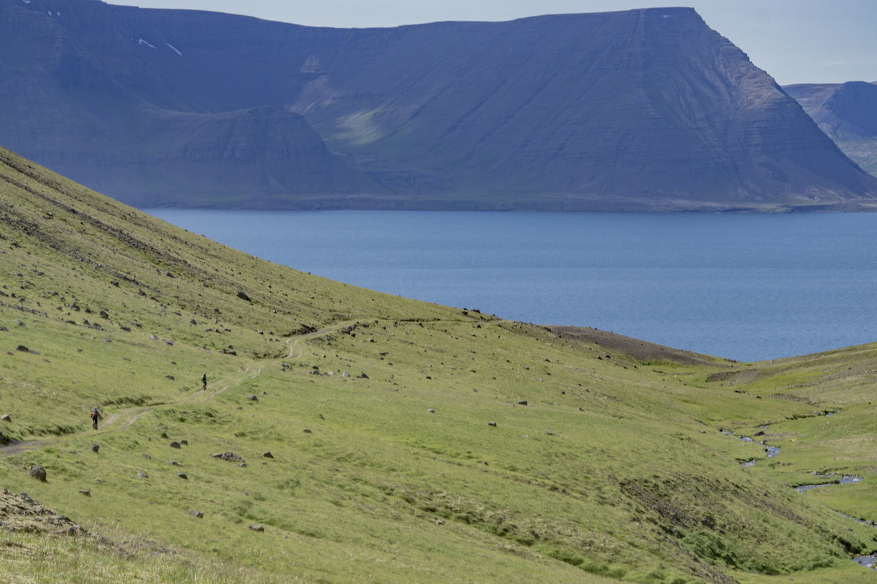 Bikers Biking Iceland Activity Bikes Day Doubletrack Grass Green Color Immense Landscape Mountain Mountain Bikers Mountain Biking Nature Outdoors Riders Riding Scenics Sky Stream Tranquil Scene Valley Water Westfjords