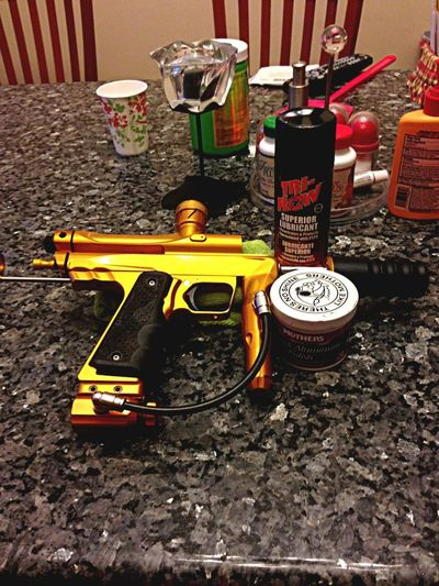 Cleaning my gat getting ready to ball