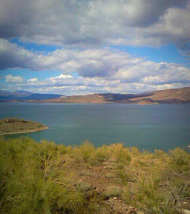 Arizona Way Out West Lake Pleasant Nature Beauty Natural Beauty Water Sky Desert Greenery Clouds Shrubbery Tranquility Scenic
