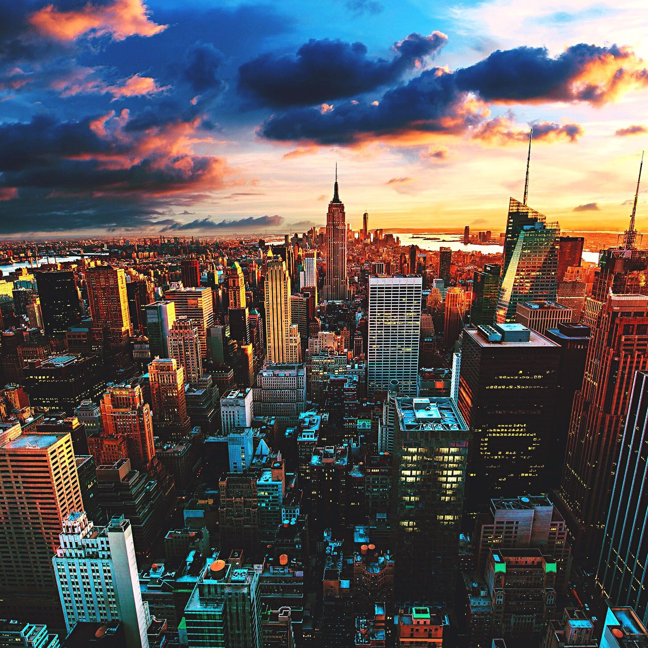 Top Of The Rock Rockefeller Center New York City Moments World Travel Vacation Oldphoto Summer Sky Colors Incredible Manhattan On Fire USA