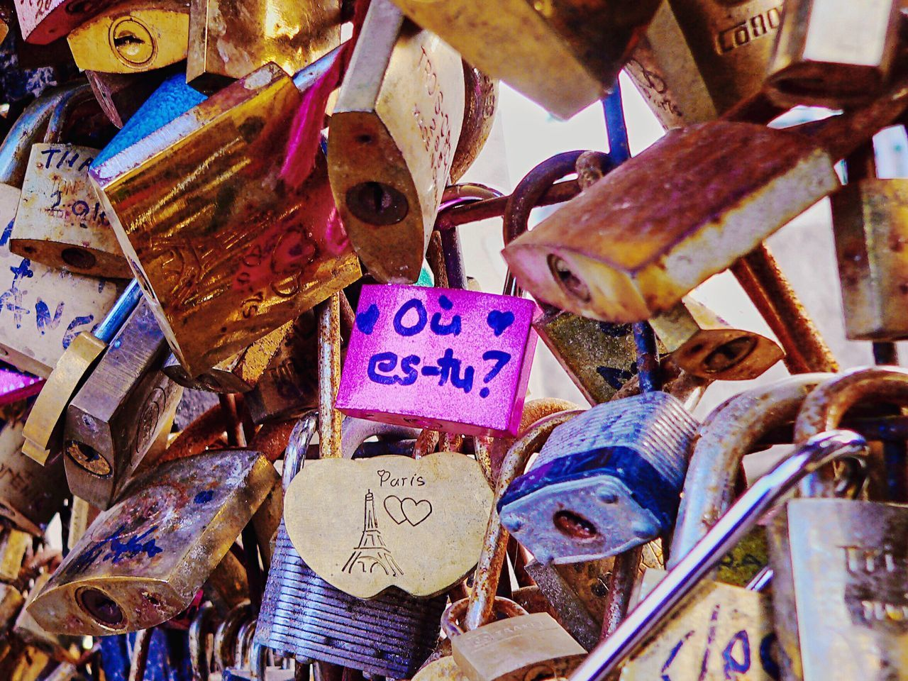 Large Group Of Objects No People Text Variation Outdoors Close-up Day Lock Locks Love Lock Where Are You? Ou Est Tu? Paris Paris Lover Love Bridge Pont Des Arts Millennial Pink
